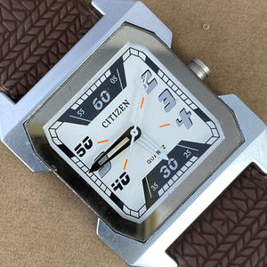 Citizen Retro Silver Tone Watch Brown Strap